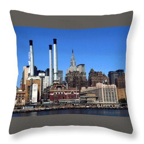 New+york Throw Pillow featuring the photograph New York Mid Manhattan Skyline by Peter Potter