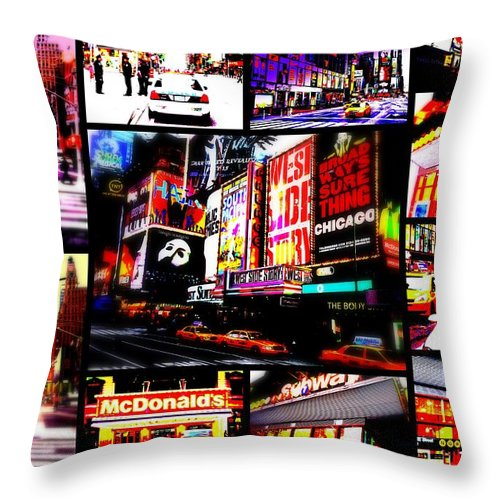 New York Throw Pillow featuring the photograph New York New York by Funkpix Photo Hunter