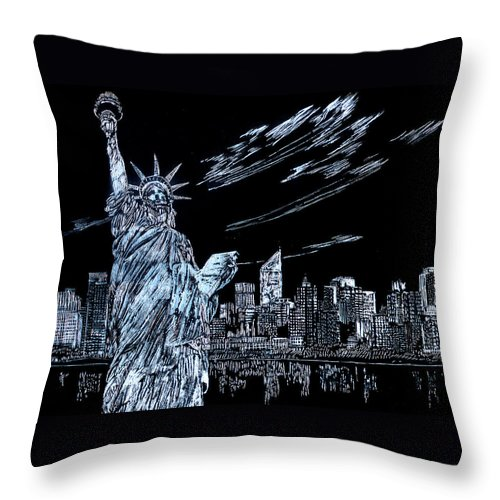Cities Throw Pillow featuring the drawing New York New York New York by Saad Hasnain