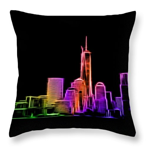 New York Throw Pillow featuring the photograph New York Skyline by Aaron Berg