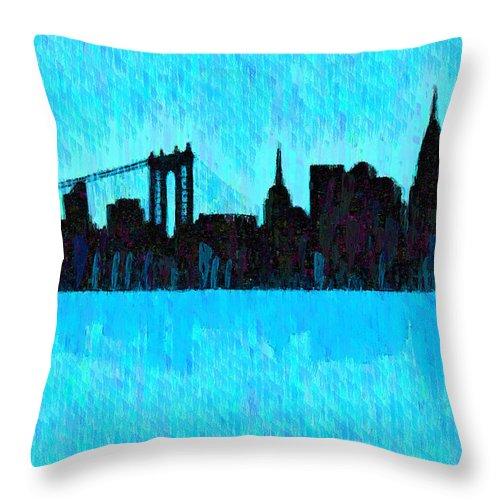 New York City Skyline Throw Pillow featuring the digital art New York Skyline Silhouette Cyan - Da by Leonardo Digenio