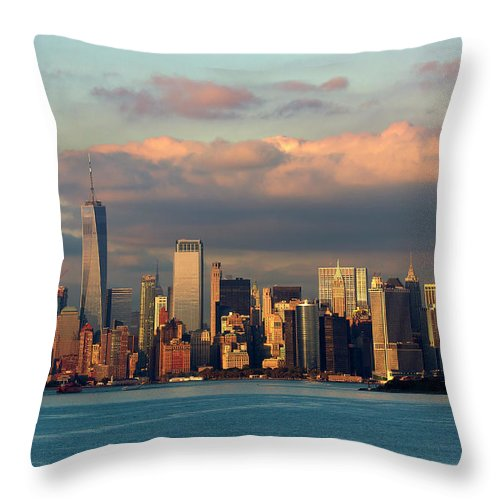 New York Throw Pillow featuring the photograph New York Sunset by Brian Knott Photography