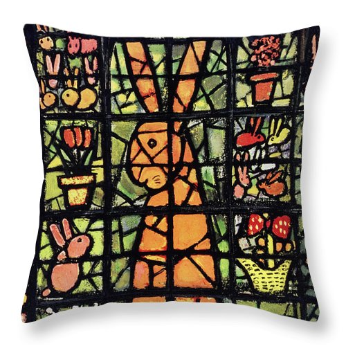 Stained Glass Throw Pillow featuring the painting New Yorker April 12 1952 by Abe Birnbaum