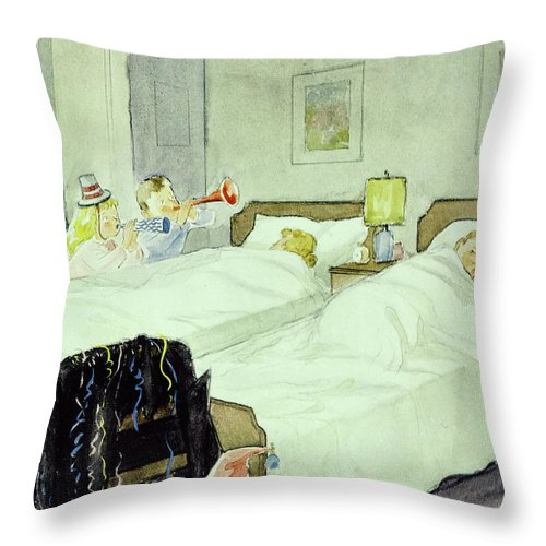 New Years Throw Pillow featuring the painting New Yorker December 29 1956painting by Perry Barlow