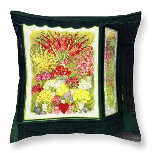 Flowers Throw Pillow featuring the painting New Yorker February 14 1953 by Edna Eicke