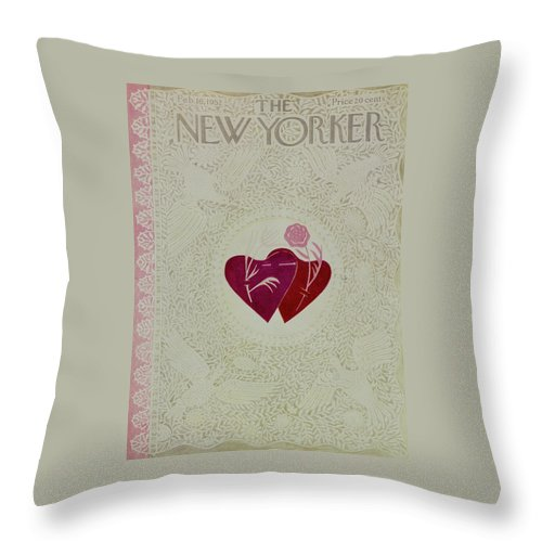 Design Throw Pillow featuring the painting New Yorker February 16 1952 by Ilonka Karasz