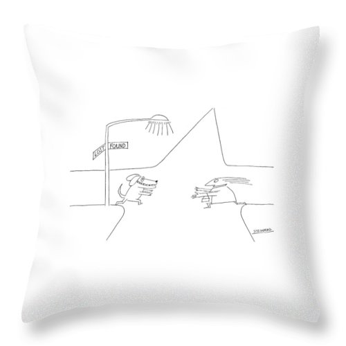 Dog Throw Pillow featuring the drawing New Yorker January 12th 1976 by Saul Steinberg