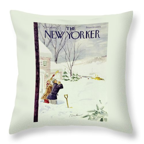 New Yorker January 14 1950 Throw Pillow For Sale By Perry Barlow
