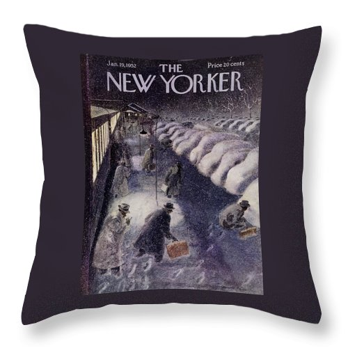 Illustration Throw Pillow featuring the painting New Yorker January 19 1952 by Garrett Price