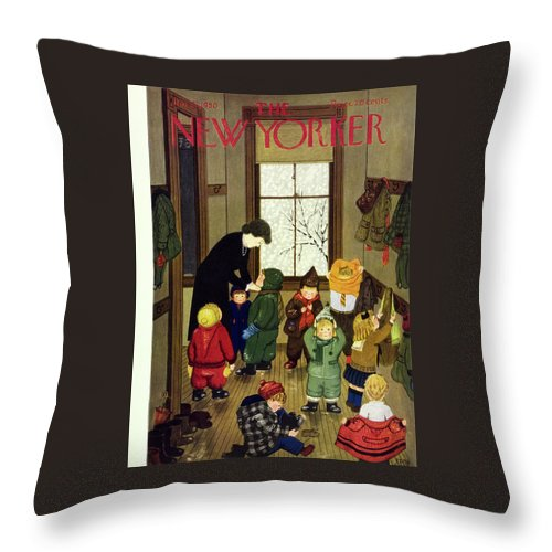 Teacher Throw Pillow featuring the painting New Yorker January 21 1950 by Edna Eicke