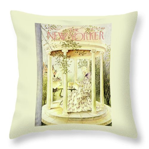 Aristocrat Throw Pillow featuring the painting New Yorker July 16 1949 by Mary Petty