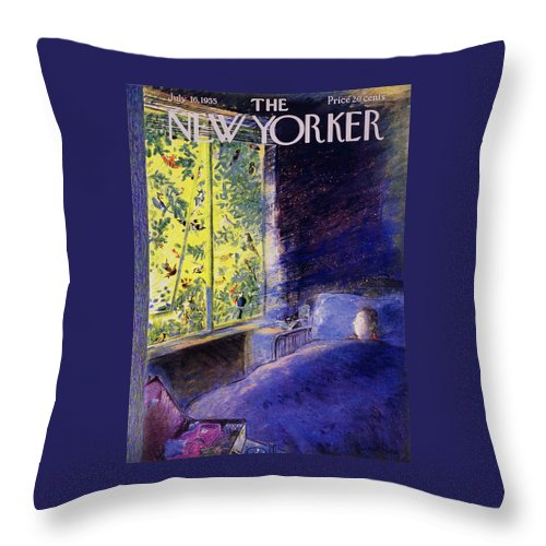 Birds Throw Pillow featuring the painting New Yorker July 16 1955 by Garrett Price