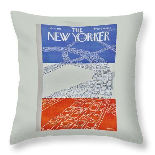 Bumper To Bumper Throw Pillow featuring the painting New Yorker July 4 1959 by Anatole Kovarsky