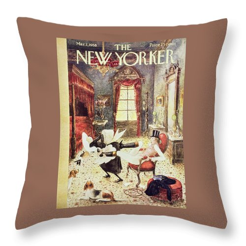 Maid Throw Pillow featuring the painting New Yorker March 1 1958 by Mary Petty