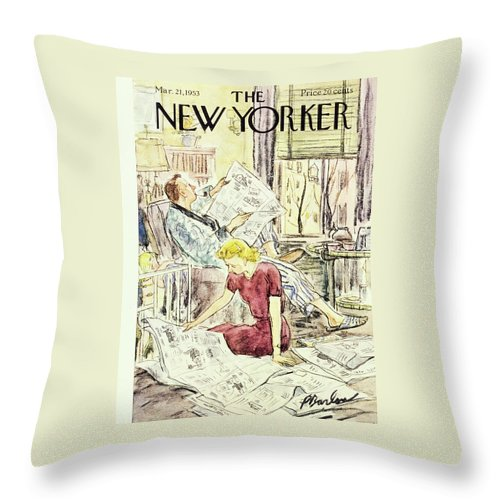 Couple Throw Pillow featuring the painting New Yorker March 21 1953 by Perry Barlow