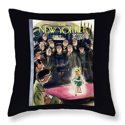 Little Girl Throw Pillow featuring the painting New Yorker March 7 1953 by Leonard Dove