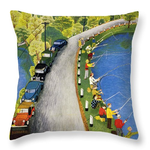 Weekend Throw Pillow featuring the painting New Yorker May 22 1954 by Ilonka Karasz