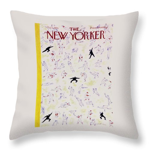 Baseball Throw Pillow featuring the painting New Yorker October 1 1955 by Garrett Price