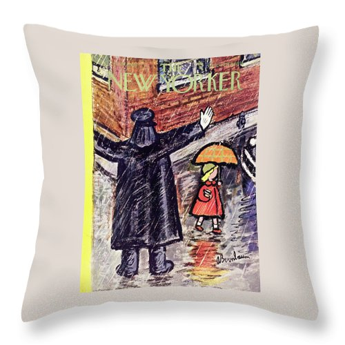 Crossing Guard Throw Pillow featuring the painting New Yorker October 10 1953 by Abe Birnbaum