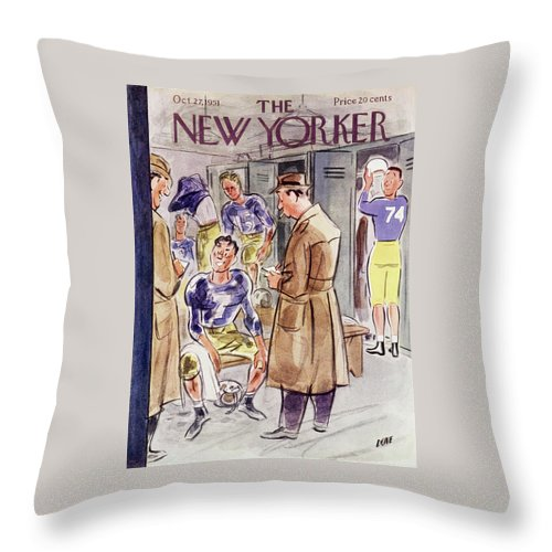 Reporter Throw Pillow featuring the painting New Yorker October 27 1951 by Leonard Dove