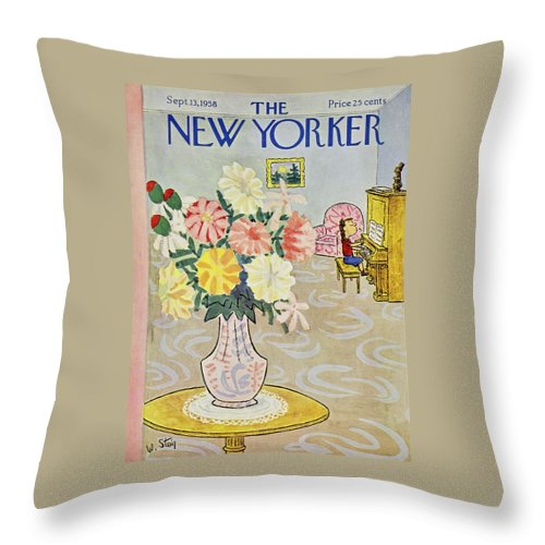 Illustration Throw Pillow featuring the painting New Yorker September 13 1958 by William Steig