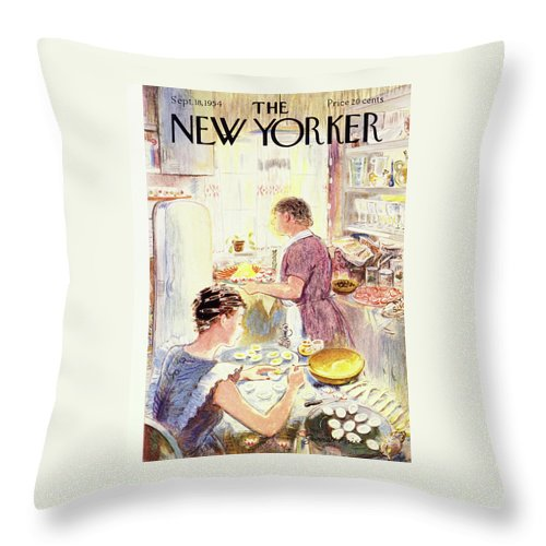 Hostess Throw Pillow featuring the painting New Yorker September 18 1954 by Garrett Price