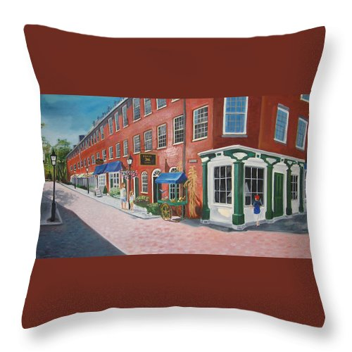 Mcgrath Throw Pillow featuring the painting Newburyport Ma by Leslie Alfred McGrath
