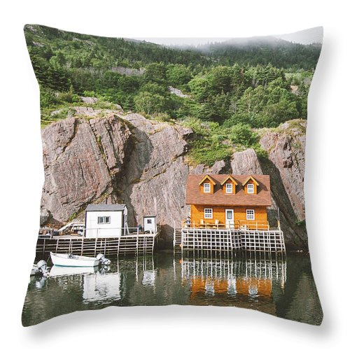 Newfoundland Throw Pillow featuring the photograph Newfoundland Boat House in Quidi Vidi Harbour by Christy Woodrow