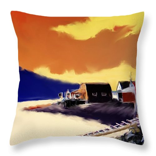 Newfoundland Throw Pillow featuring the photograph Newfoundland Fishing Shacks by Ian MacDonald