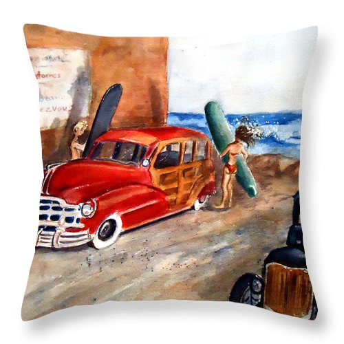 'surfs Up In Newport Throw Pillow featuring the painting Newport Woody by Charme Curtin