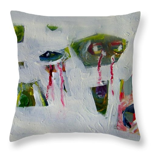 Abstract Throw Pillow featuring the painting Newspaper Headline -- I Weep-therefore I Am by Judith Redman