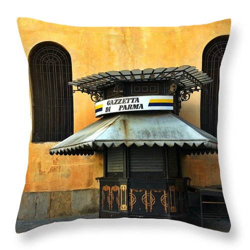 Architecture Throw Pillow featuring the photograph Newsstand - Parma - Italy by Silvia Ganora