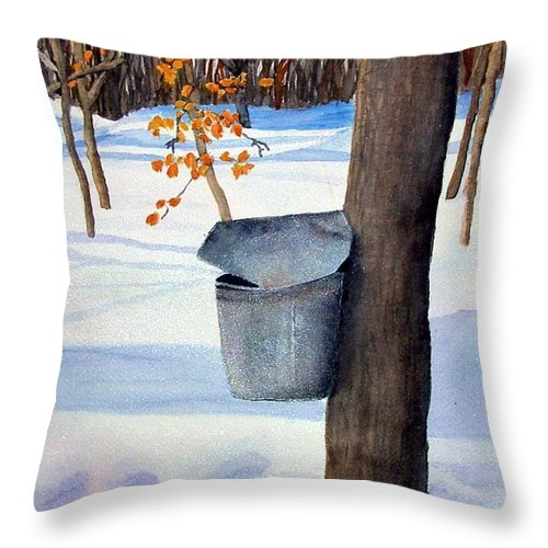 Sap Bucket. Maple Sugaring Throw Pillow featuring the painting Nh Goldmine by Sharon E Allen