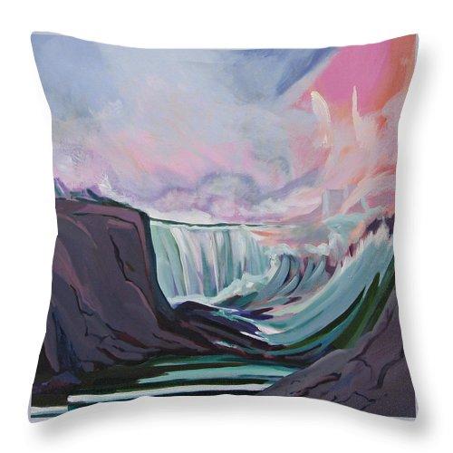 Niagara Falls Niagara Falls Painting Throw Pillow featuring the painting Niagara Thunder 1 by J R Baldini