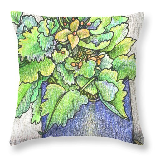 Potted Plant Throw Pillow featuring the painting Nice Plant by Rose Gauss