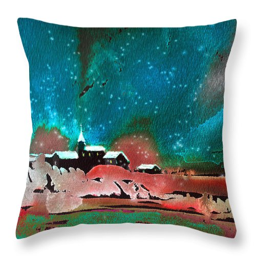 Watercolour Landscape Throw Pillow featuring the painting Nichtfall 14 by Miki De Goodaboom