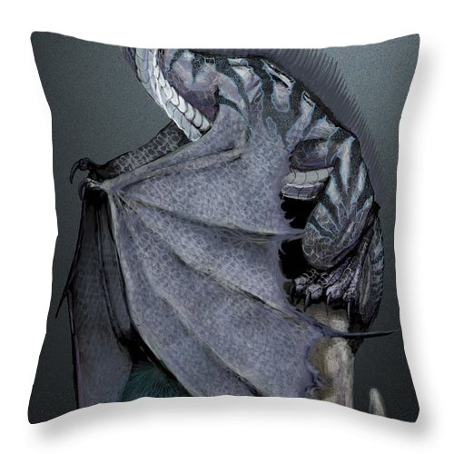 Dragon Throw Pillow featuring the digital art Nickel Dragon by Stanley Morrison