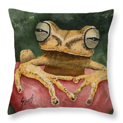 Frog Throw Pillow featuring the painting Nic's Frog by Sam Sidders