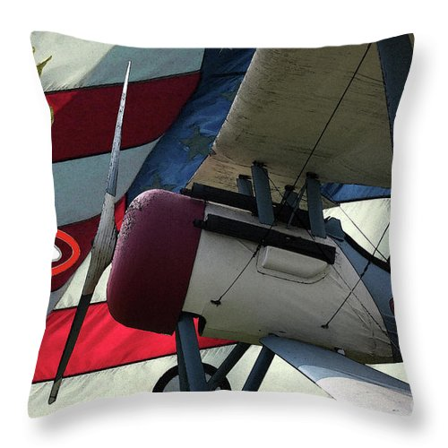 Nieuport 28c Throw Pillow featuring the digital art Nieuport 28c Hat In The Ring by Tommy Anderson