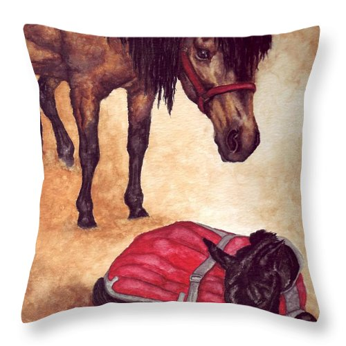 Horse Throw Pillow featuring the painting Nifty And Hannah by Kristen Wesch