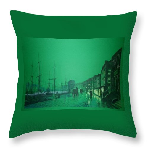 Landscape Throw Pillow featuring the painting Night by Aram Nersisyan