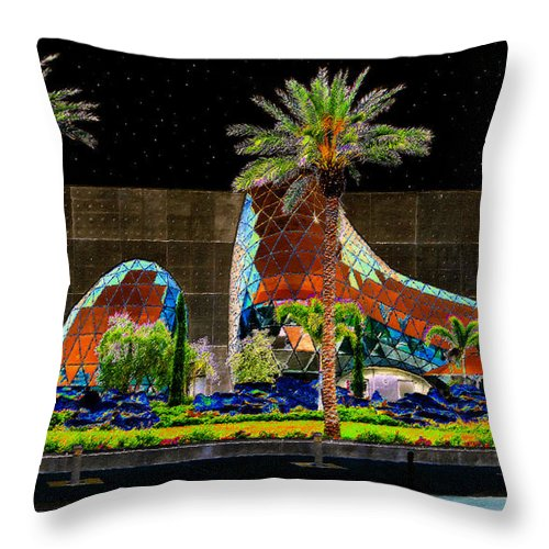 Art Throw Pillow featuring the painting Night At The Dali Museum by David Lee Thompson