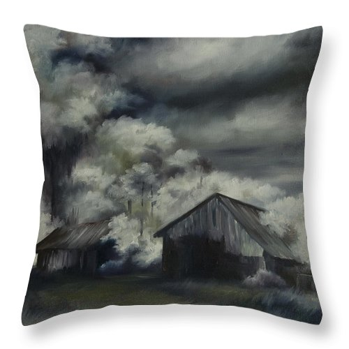 Motel; Route 66; Desert; Abandoned; Delapidated; Lost; Highway; Route 66; Road; Vacancy; Run-down; Building; Old Signage; Nastalgia; Vintage; James Christopher Hill; Jameshillgallery.com; Foliage; Sky; Realism; Oils; Barn Throw Pillow featuring the painting Night Barn by James Christopher Hill