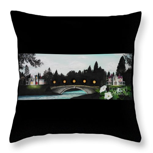 Architecture Throw Pillow featuring the painting Night Bridge by Melissa A Benson