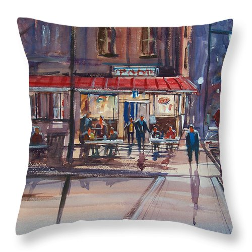 Street Scene Throw Pillow featuring the painting Night Cafe by Ryan Radke