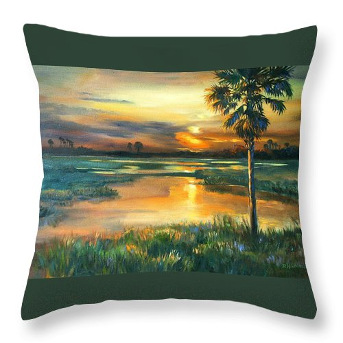 Painting Throw Pillow featuring the painting Night Descends by Dianna Willman