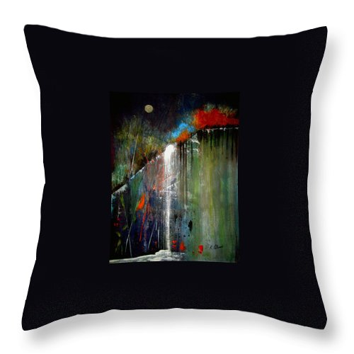 Abstract Throw Pillow featuring the painting Night Falls by Ruth Palmer