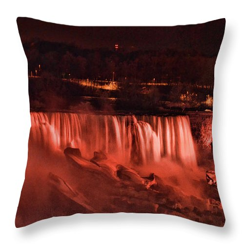 Niagara Throw Pillow featuring the photograph Night Falls by Traci Cottingham