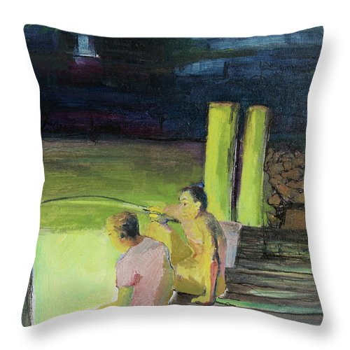 Night Throw Pillow featuring the painting Night Fishing by Craig Newland