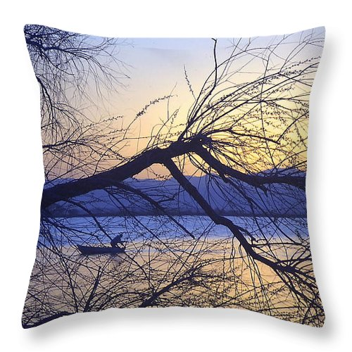 Barr Lake Throw Pillow featuring the photograph Night Fishing In Barr Lake Colorado by Merja Waters